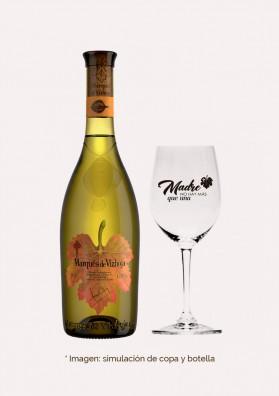 Pack Día de la Madre - (Estuche: 1 botella Marqués de Vizhoja 0,75l, 1 copa Reidel con mensaje y 1 visita a bodega)