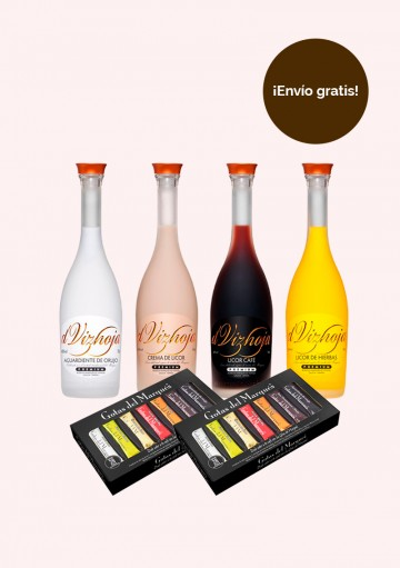 Pack Licores Marqués de Vizhoja - (4 botellas de nuestros licores y 2 estuches de 28 monodosis de Gotas del Marqués)
