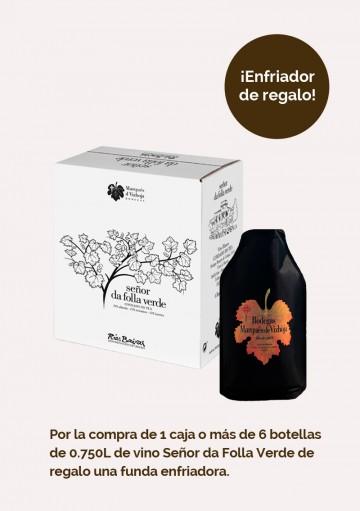 Promoción Caja de 6 botellas ',75L de Señor da Folla Verde + Enfriador Gratis